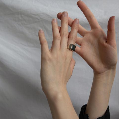 Кольцо-печатка с инталией (нефрит, квадрат, лошадь)