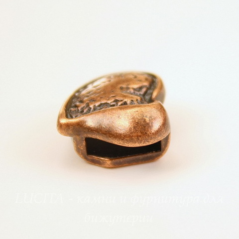 "Бусина металлическая (для шнура 9,5х2,8 мм) ""Сердце"" 18х15х8 мм (цвет - античная медь)"