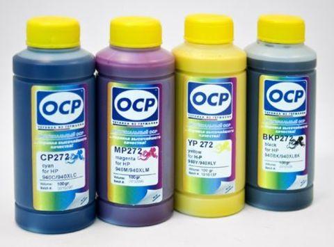 Комплект пигментных чернил OCP для картриджей HP № 940. (BKP 272, CP, MP, YP 272) 100 gr x 4