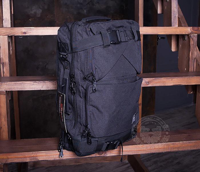 BAG405-1 Вместительный рюкзак трансформер сумка из ткани черного цвета фото 01