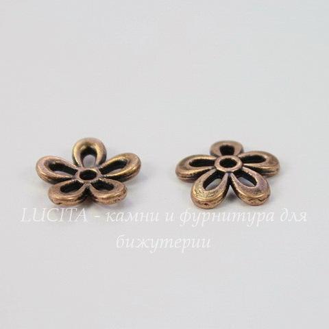 "Шапочка для бусины ""Цветок"" 12 мм (цвет - античная медь), 10 штук"