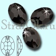 Стразы пришивные стеклянные Oval Jet, Овал Джет, черный на StrazOK.ru