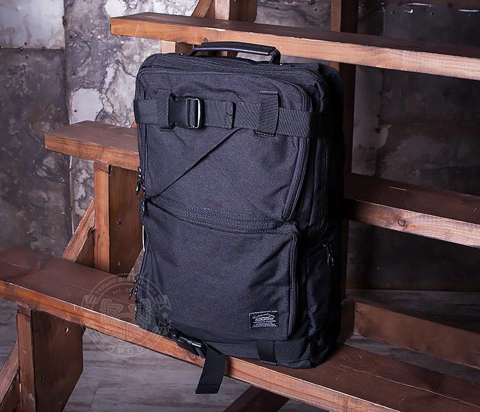 BAG405-1 Вместительный рюкзак трансформер сумка из ткани черного цвета фото 02