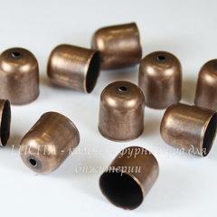 Концевик для шнура 9 мм, 11х10 мм (цвет - античная медь), 10 штук