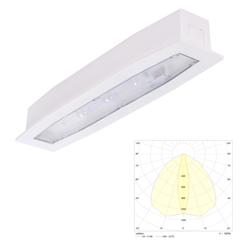 Аварийный светильник встраиваемый в потолок для освещения путей эвакуации высоких помещений Suprema LED SCH PT IP54 Intelight