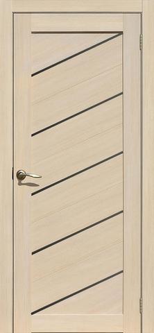 Дверь APOLLO DOORS F15, стекло чёрное Lacobel, цвет лиственница светлая, остекленная