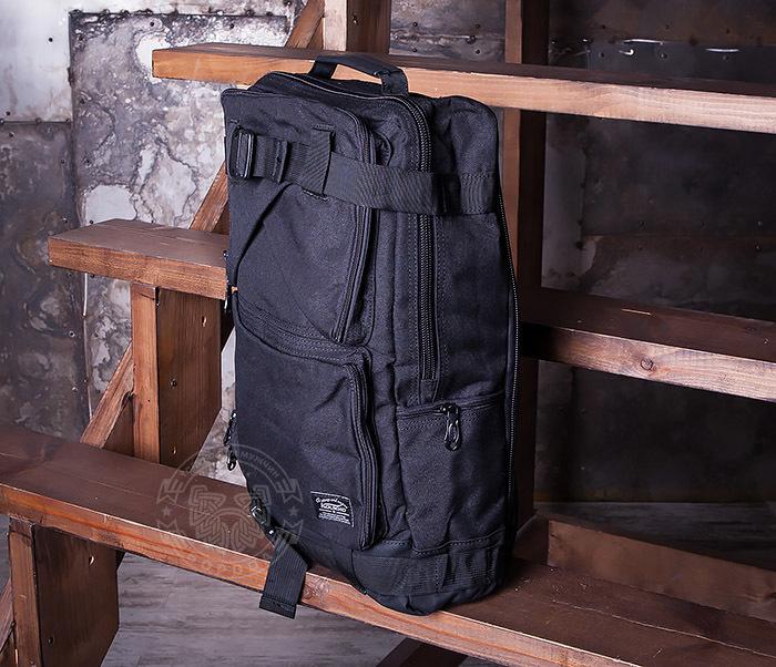BAG405-1 Вместительный рюкзак трансформер сумка из ткани черного цвета фото 03