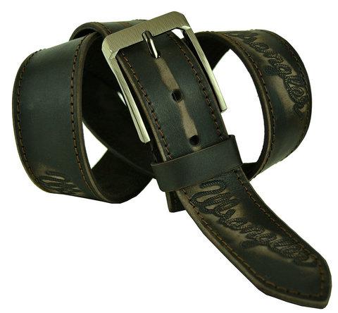 Мужской кожаный коричневый потёрный ремень 45Millen-064