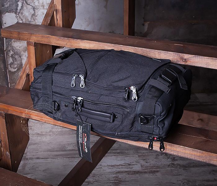 BAG405-1 Вместительный рюкзак трансформер сумка из ткани черного цвета фото 04