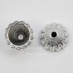 Шапочка - конус для бусины 10х5 мм (цвет - античное серебро), 10 штук