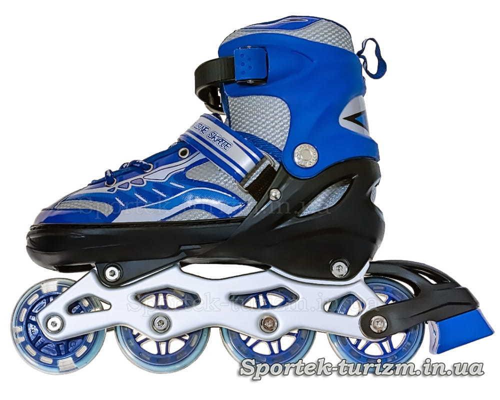 Сине-серые роликовые коньки для подростков вид слева
