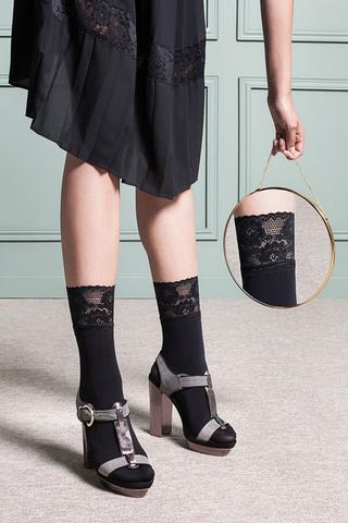 Черные женские носки с ажурной резинкой