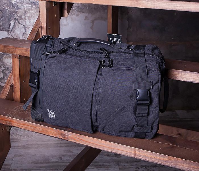BAG405-1 Вместительный рюкзак трансформер сумка из ткани черного цвета фото 05