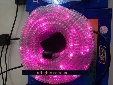Гофрированный розовый дюралайт 10 метров светодиодный LED гирлянда