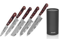 Набор из 5 кухонных ножей Samura KAIJU и браш-подставки