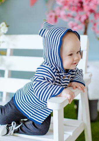 Лапушка. Кофточка на пуговицах с капюшоном с ушками хлопковая, синяя