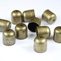 Концевик для шнура 9 мм, 11х10 мм (цвет - античная бронза), 10 штук