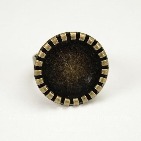 Основа для кольца с сеттингом c круглым краем для кабошона 15,8 мм  (цвет - античная бронза)