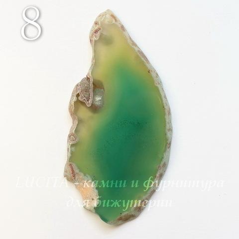 Подвеска Срез Агата (тониров), цвет - оливково-зеленый, 37-83 мм (№8 (79х36 мм))