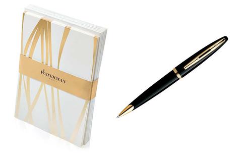 Набор подарочный Waterman Carene - Black GT, шариковая ручка, M + открытки, конверты