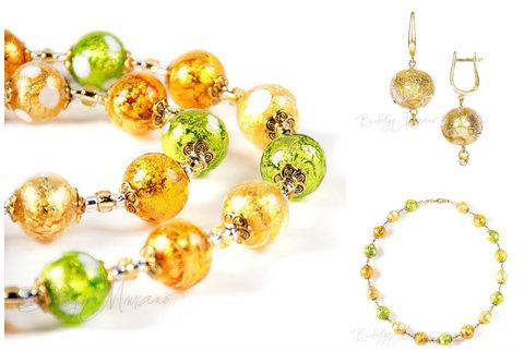 Ожерелье и серьги (комплект украшений Bella золотисто-салатовый)