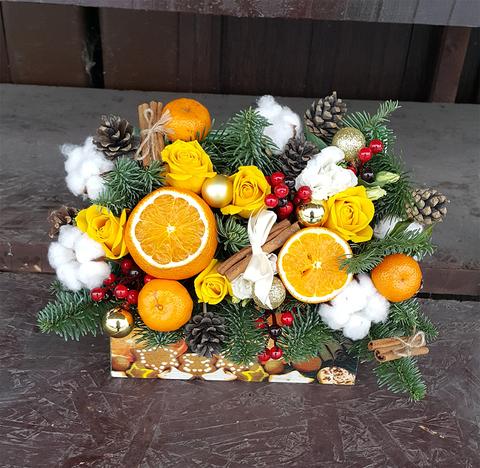 Ящик с цветами Новый Год 5