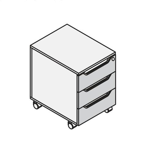 Тумба мобильная (подкатная) 3 ящика LOGIC