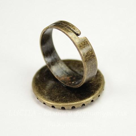 Основа для кольца с сеттингом c круглым краем для кабошона 16 мм (цвет - античная бронза)