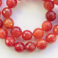 Бусина Агат, шарик с огранкой, цвет - красно-коричневый, 10 мм, нить