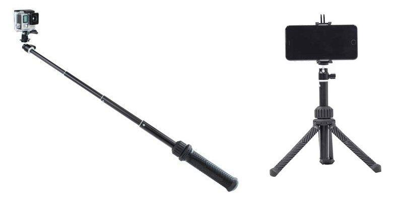 Монопод - штатив PolarPro Trippler с камерой и со смартфоном