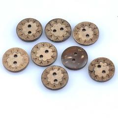 Пуговица 15 мм кокосовая натуральная с рисунком