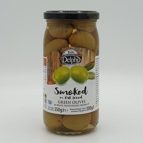 Оливки с косточкой копченые на дубовых опилках в рассоле DELPHI, 350 гр