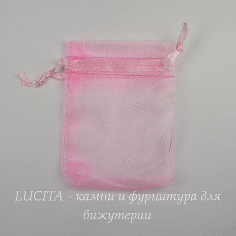 Подарочный мешочек из органзы розовый, 9х7 см