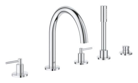 Atrio New Комлект для ванны на 5 отверстий (смеситель двухвентильный, круглый излив, рукоятки-рычаги,  ручной душ, переключатель), может быть использован с 29 037 001