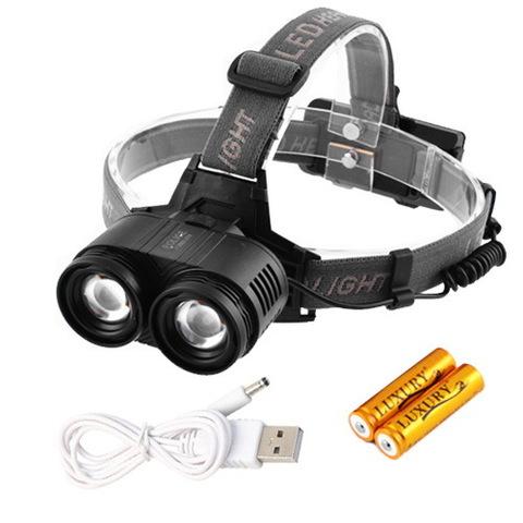 Ф.налобный Police F2002-2T6, zoom, 2x18650, ЗУ micro USB