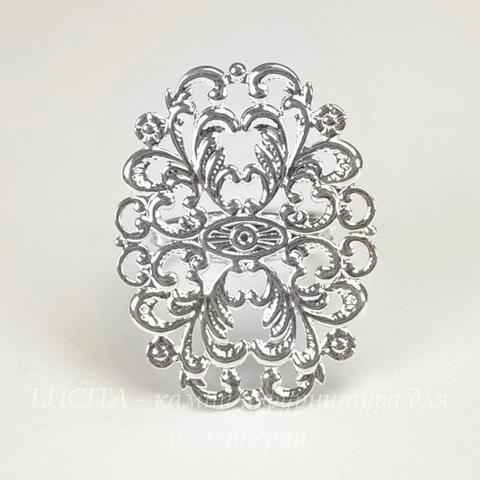 Основа для кольца с филигранью 24х31 мм (цвет - серебро)