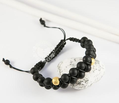 BS714 Мужской двойной браслет ручного плетения из натурального камня. &#34Boroda Design&#34
