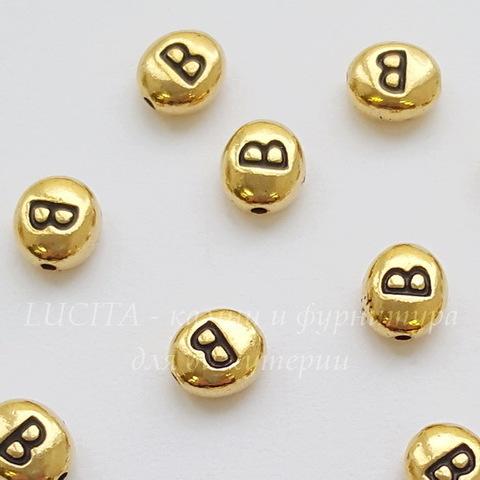 "Бусина овальная TierraCast ""Буква B"" 7х6х3 мм (цвет-античное золото) (20170913_120615)"