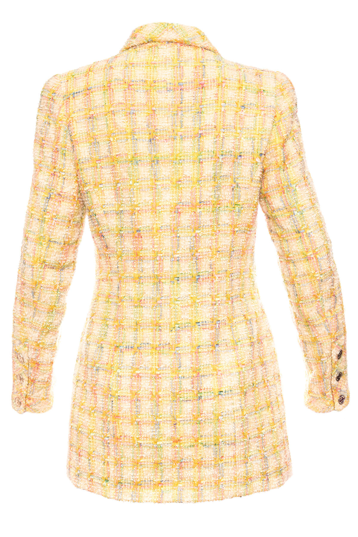 Стильный твидовый пиджак в клетку от Chanel, 40 размер