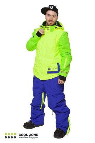 Сноубордический комбинезон мужской Cool Zone 3в1 лайм-синий