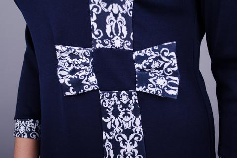 Монако. Красивое платье плюс сайз. Синий+орнамент.