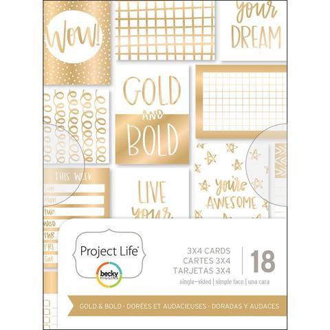 Набор карточек 7,5х10см - Project Life Themed Cards Cards -Gold & Bold-18шт