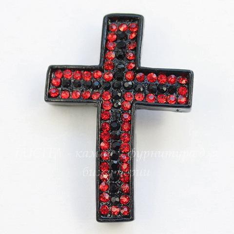 """Разделитель """"Крест"""" с красными и черными стразами 38х26х7 мм (цвет - черный никель)"""