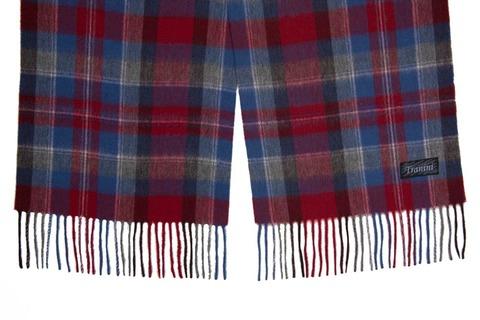 Шерстяной шарф бордовый клетчатый 31151