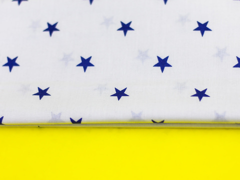 Тканина бавовна, Let's make відріз 15x40 см. Малюнок - сині зірочки на білому 312162066