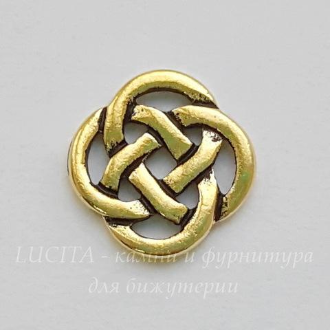 """Коннектор TierraCast """"Кельтский узел"""" (2-2) 10х10 мм (цвет-античное золото) (20170913_110311)"""