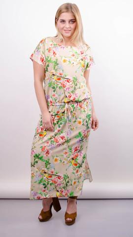 Мрия. Яркое платье больших размеров. Птицы на бежевом.
