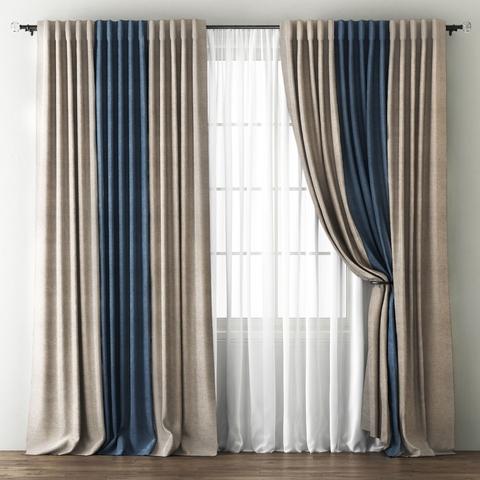 Комплект штор и покрывало Карин бежево-коричневый-синий