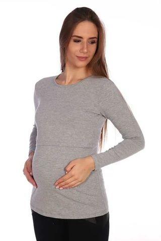 Мамаландия. Лонгслив для беременных и кормящих, темно-серый меланж