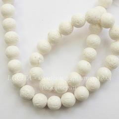 Бусина Коралл (тониров), шарик, цвет - белый, 10 мм, нить